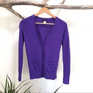 J. Crew • Purple Merino Wool Button Down Sweater
